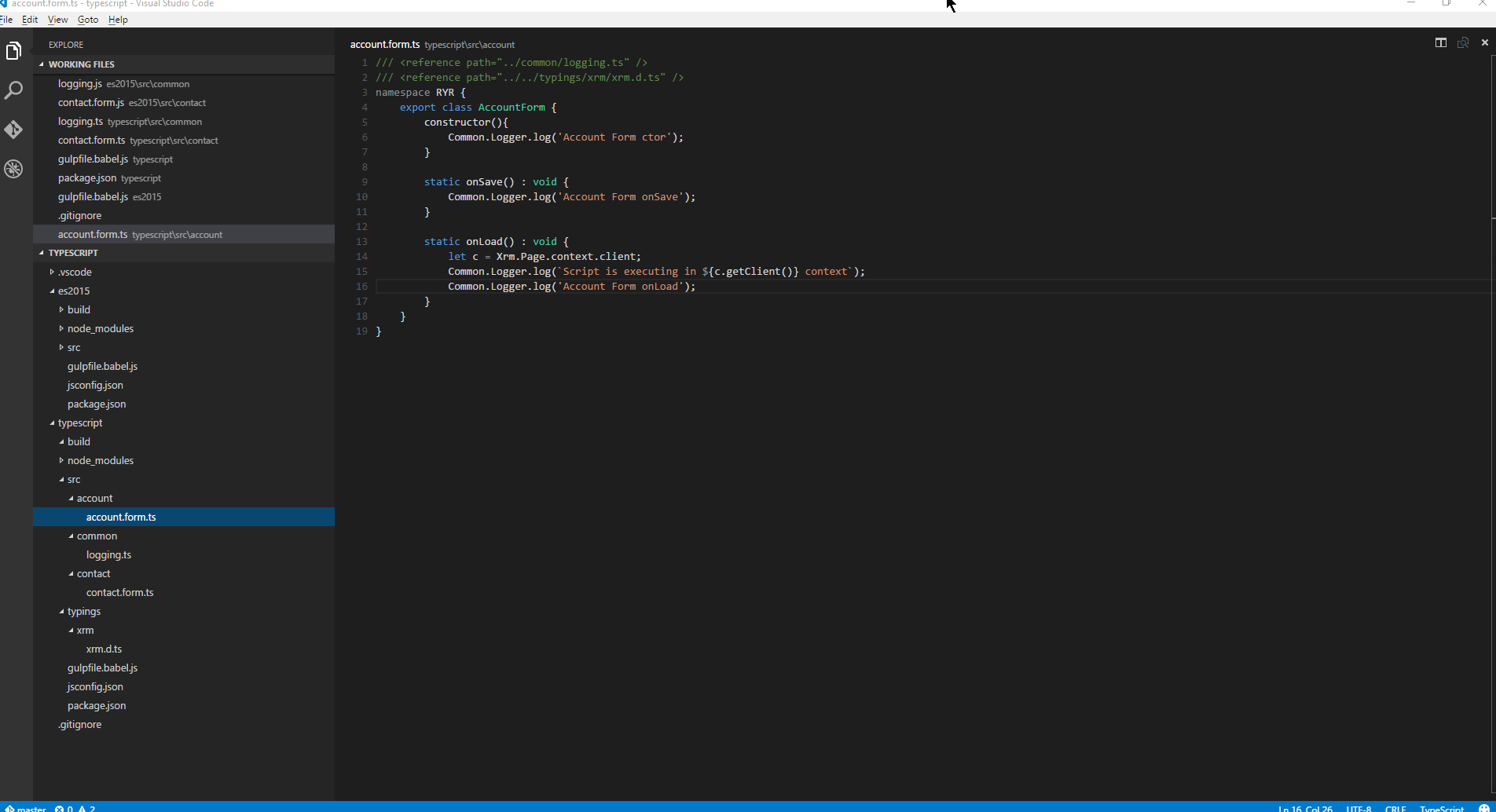 Using TypeScript and Gulp for CRM Client side scripting