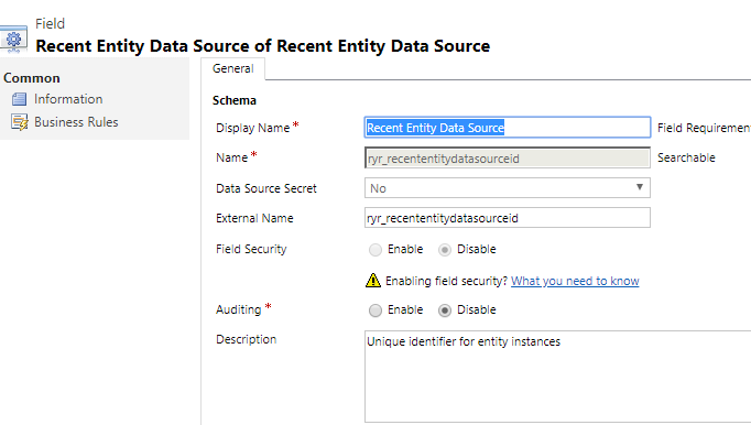 Data Source Primary Key Attribute