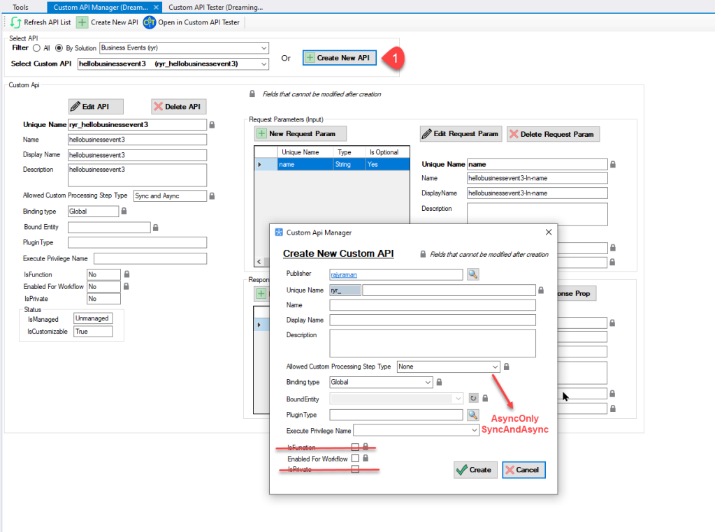 XrmToolBox Custom API Manager Tool
