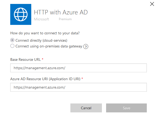 HTTP with Azure AD connection