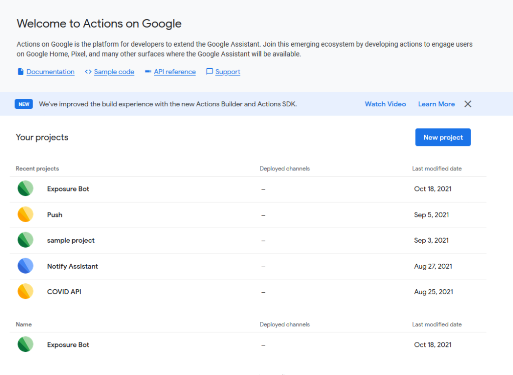 Google Actions projects screen